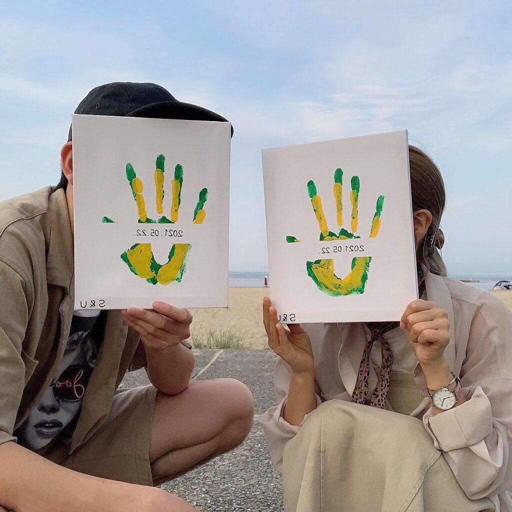 手形アート キャンバス